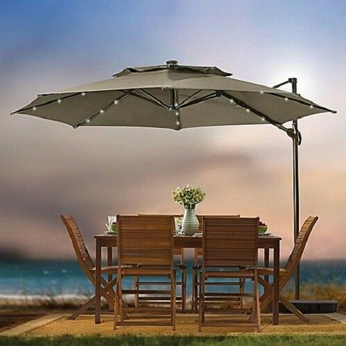 11 Foot Round Umbrella Solar Patio