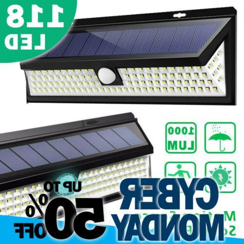 118led solar lights outdoor wireless motion sensor
