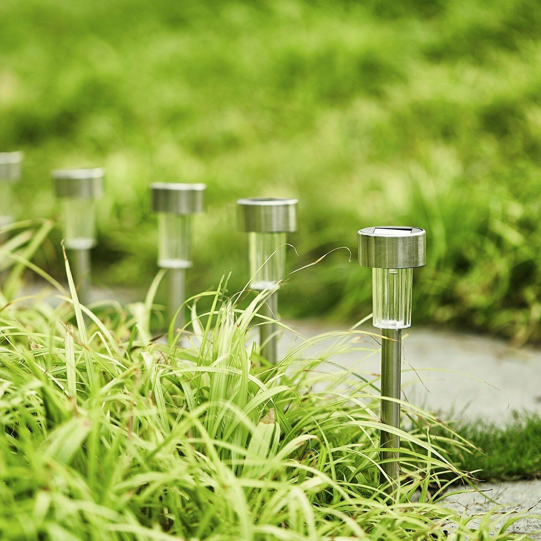 12Pcs Solar Outdoor Garden Lights LED Stainless Steel