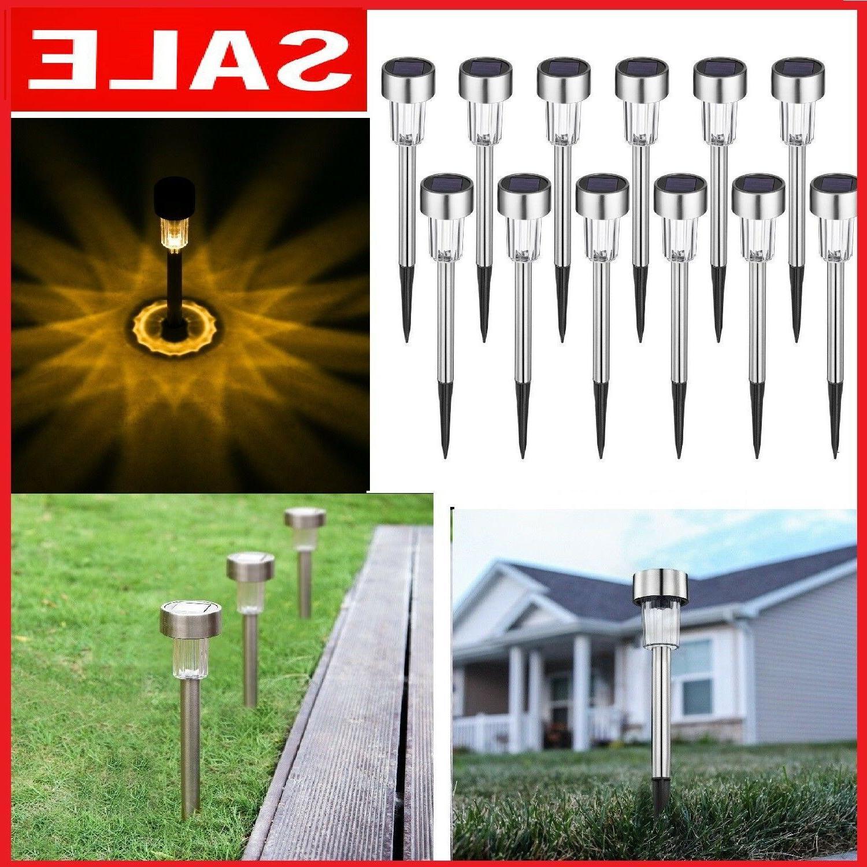 12 pcs outdoor garden stainless steel led