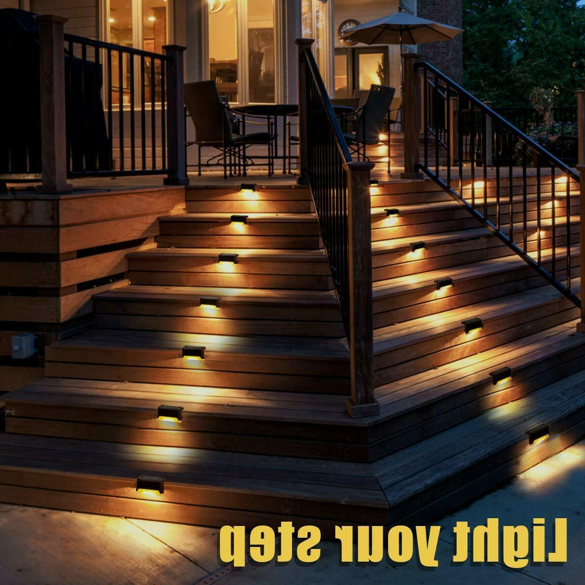 12Pcs Solar Powered Deck Lights Outdoor Path Garden Stairs Lamp