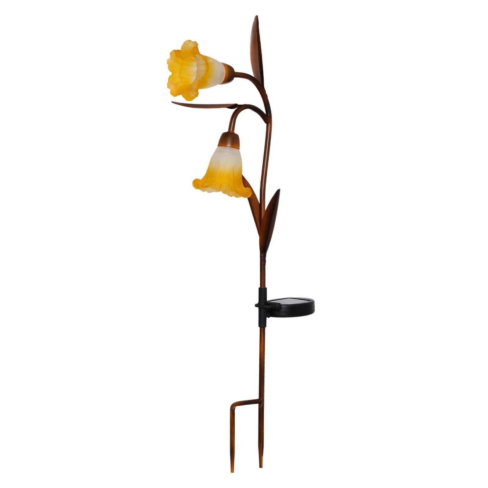 1pk solar yellow trumpet floral garden stake