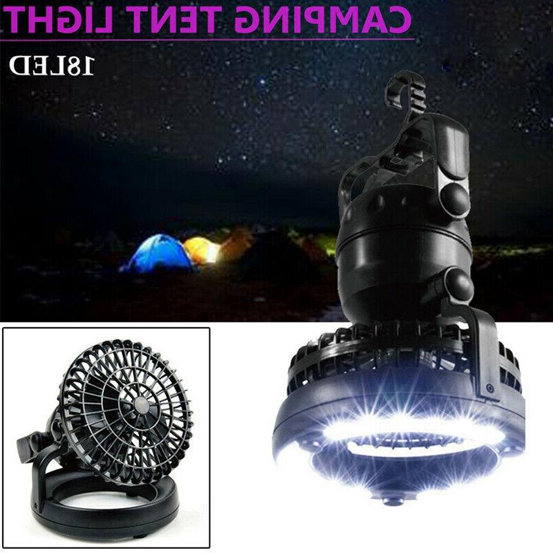 2 1 Outdoor Camping Ceiling Fan 18LED Lamp US