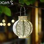 Maggift 2 Pack Hanging Solar Lights Outdoor Retro Lantern wi