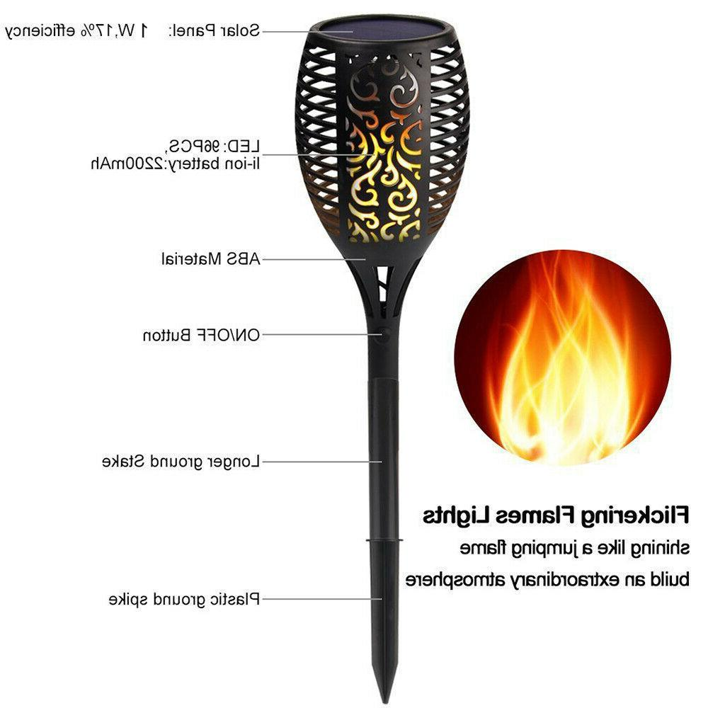 2 LED Solar Torch Dancing Flickering Flame Lamp