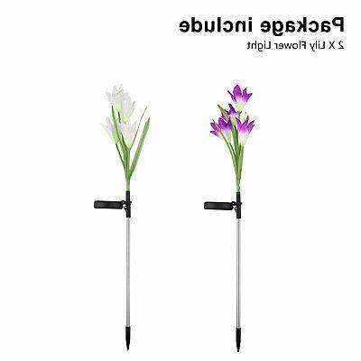 2 Pack Solar Lights Flowers Patio Decoration