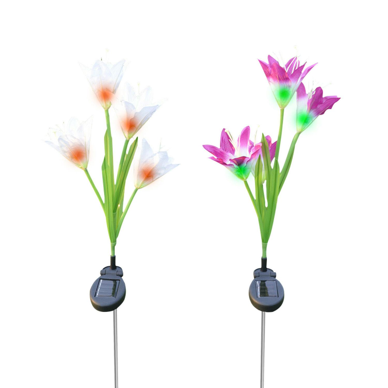 2 Lily LED Lights For Garden Backyard Stake