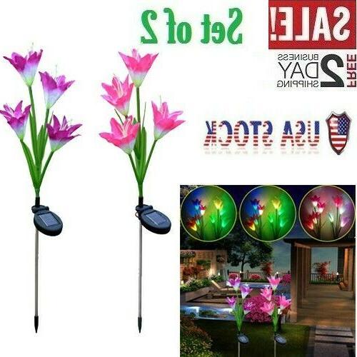2 pack solar 8 lily flower led