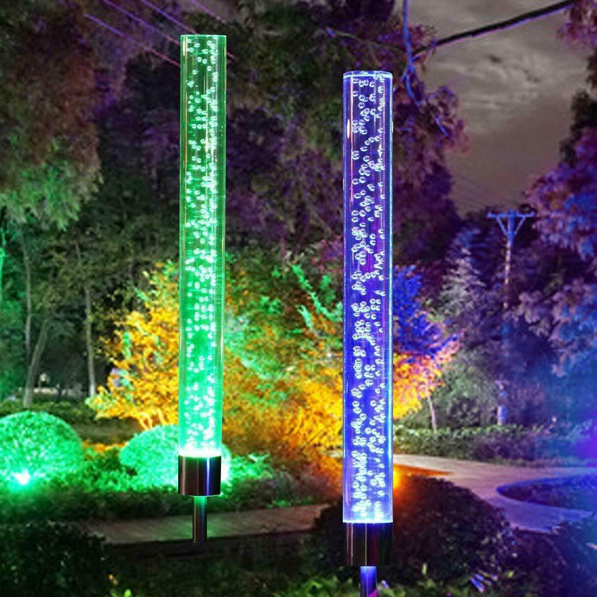 2pcs Garden Solar Lights Outdoor Solar Acrylic Bubble RGB Co