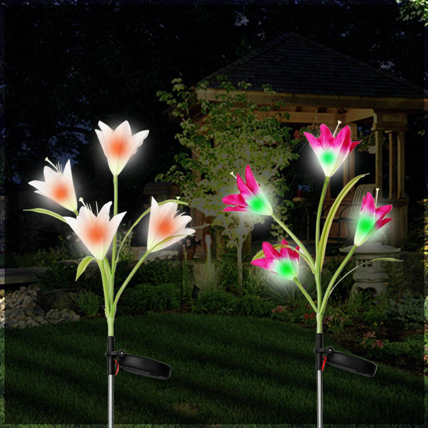 2 Flower LED Garden Patio Stake Lamps Home Decor