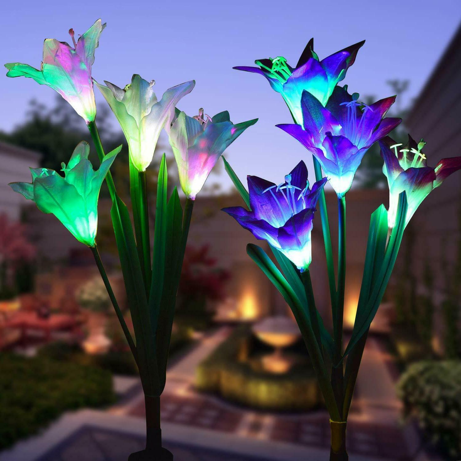 2 Solar Flower LED For Garden Patio Stake Home