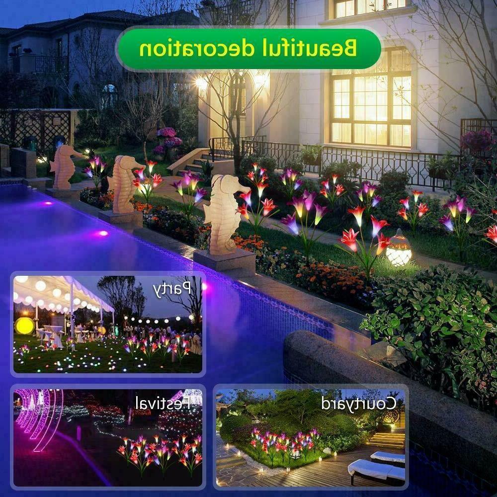 2 Solar Flower LED Patio Backyard Stake Lamps Home Decor