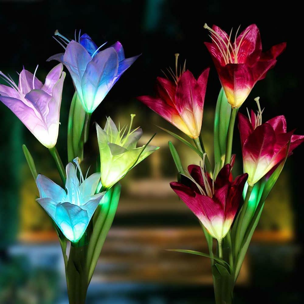 2 pack solar flower led lights