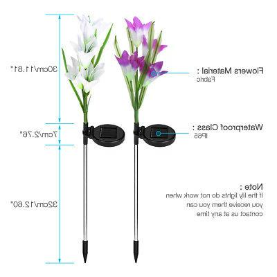 2 Lily Flowers Garden Lights LED Outdoor Yard Multi-Color