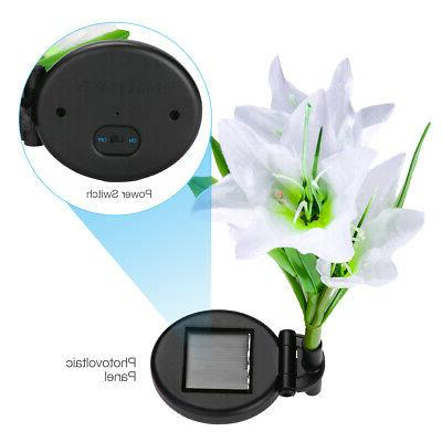 2 Pack Solar Lily Flowers Outdoor Yard Multi-Color