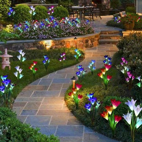 2-Pack Solar Lily Flowers Garden Lights LED Multi-Color Outd