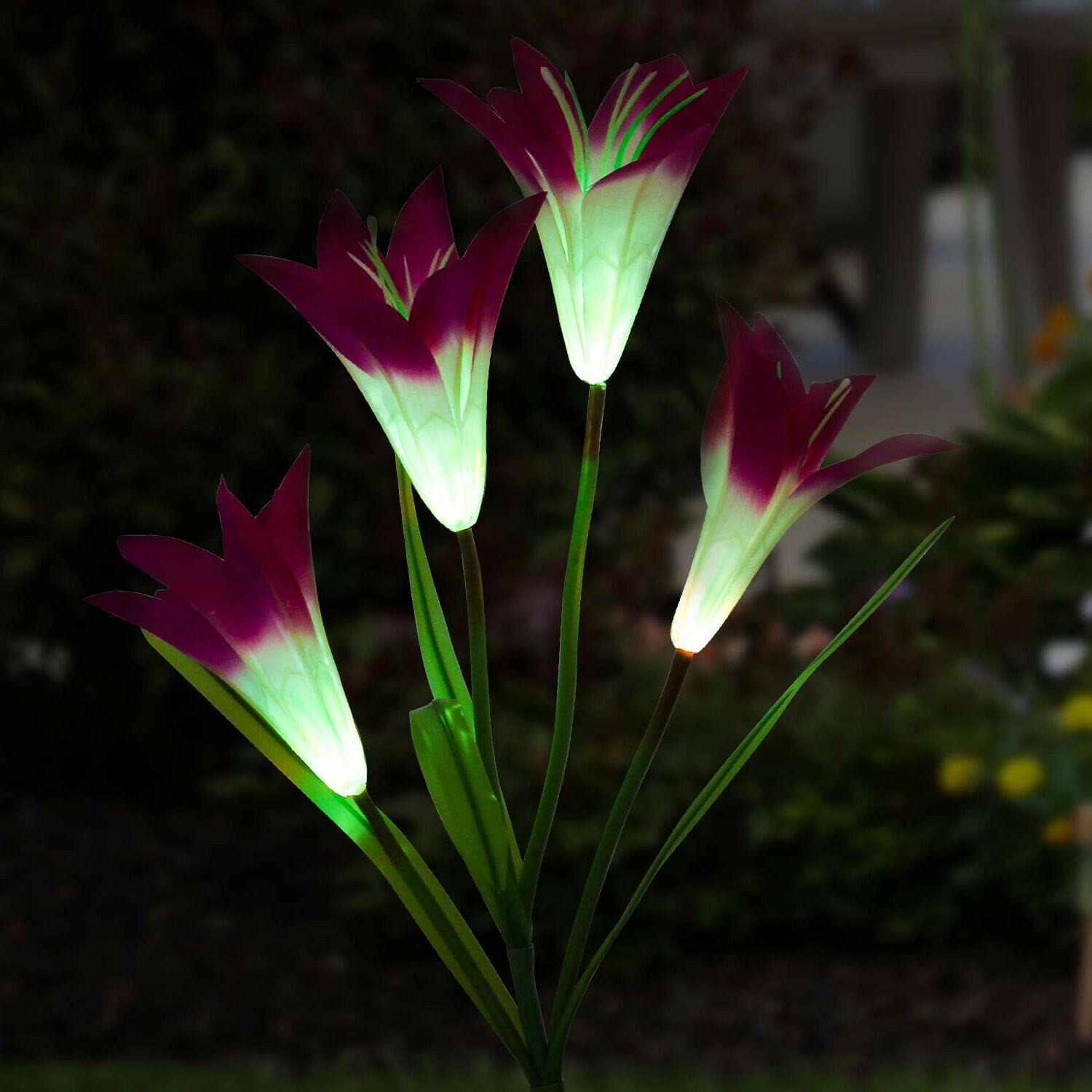 2-pack Lily Flowers Garden LED Yard Decor