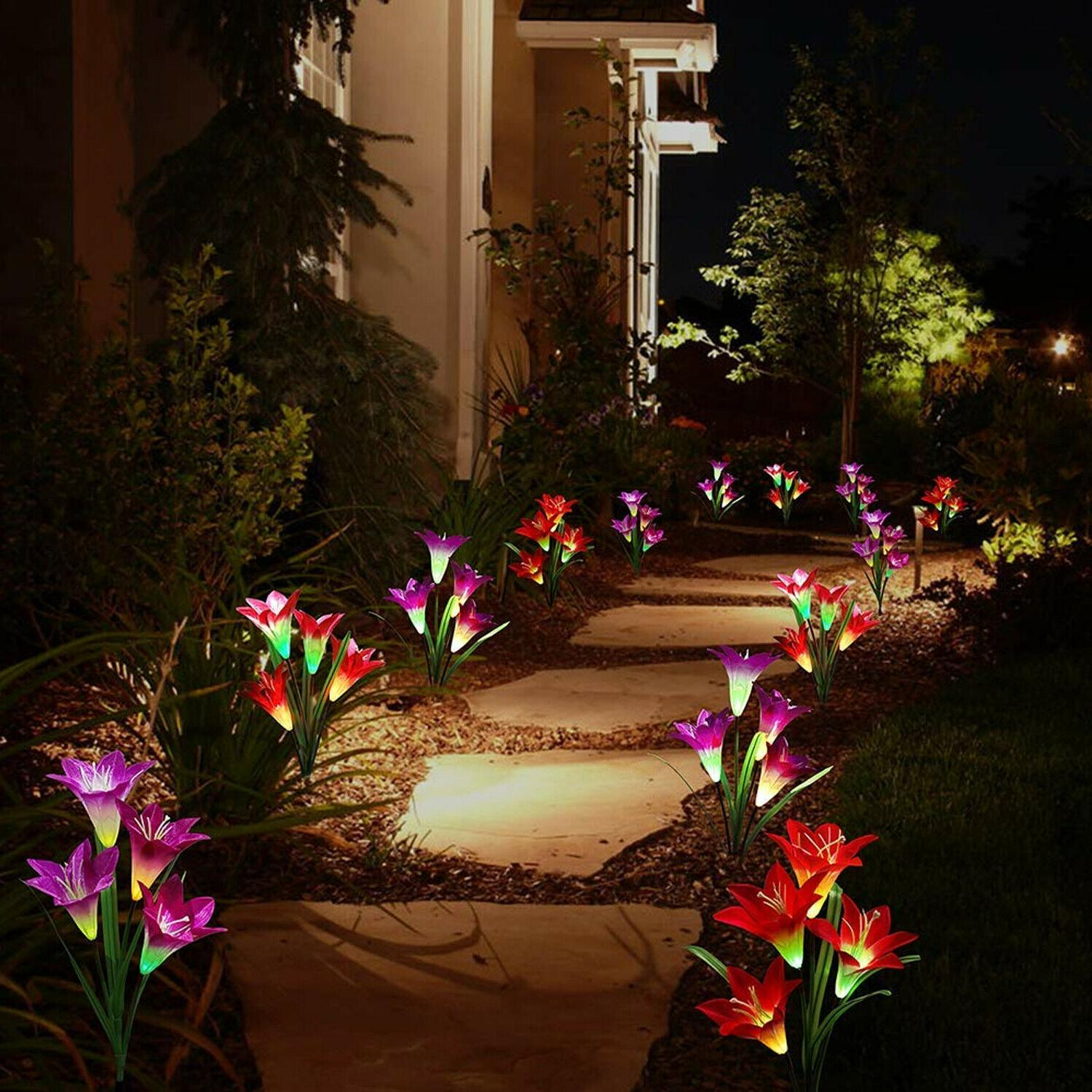 2-pack Lily Garden Lights LED Yard Lamp Multi-Color