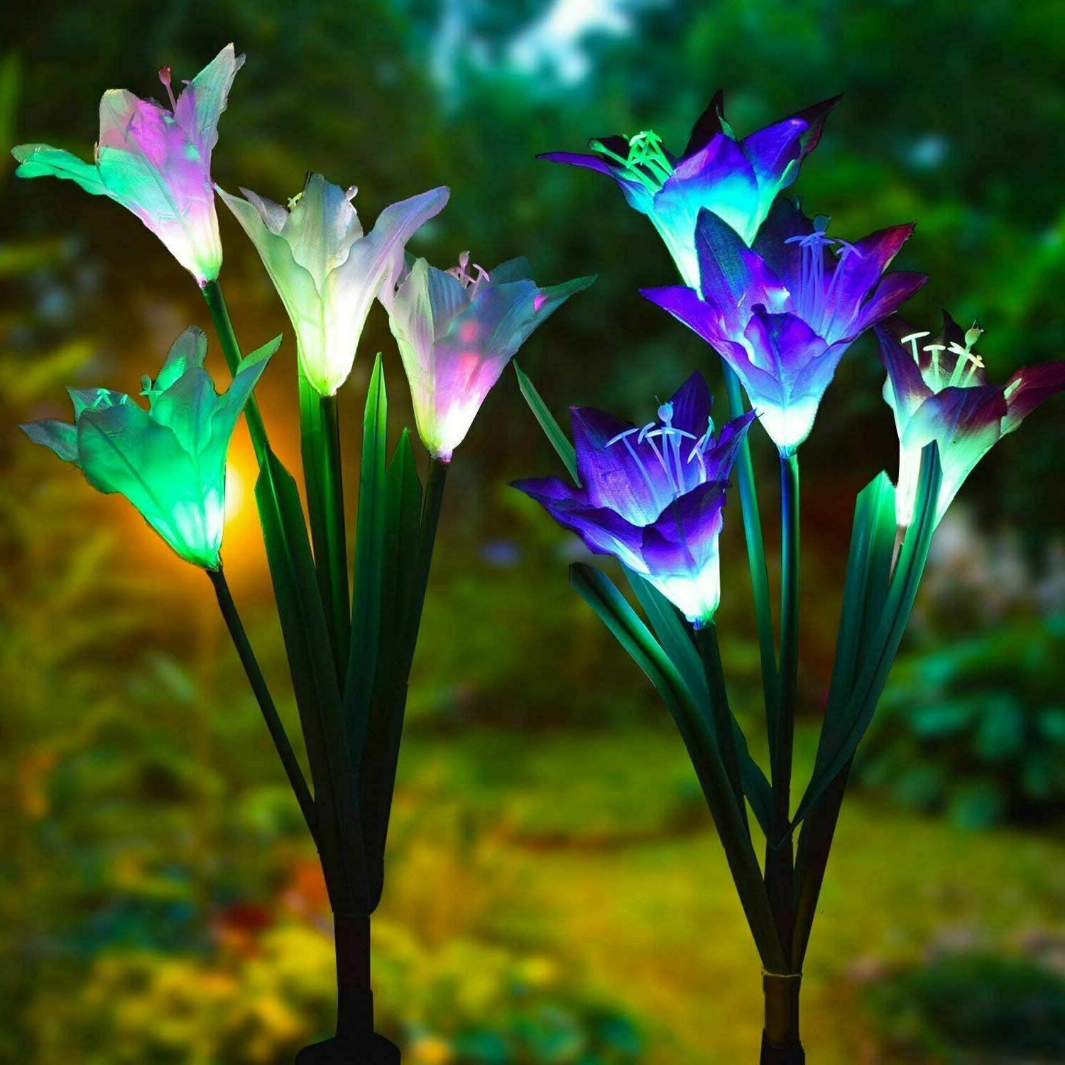 2 pack solar lily flowers garden lights