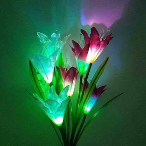2 Power Lily LED Garden Stake Outdoor