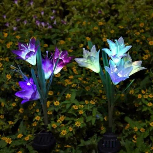 2 Pack Lily Flower Garden Stake Lamp Outdoor