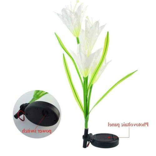 2 Solar Lily LED Garden Stake Lamp Outdoor
