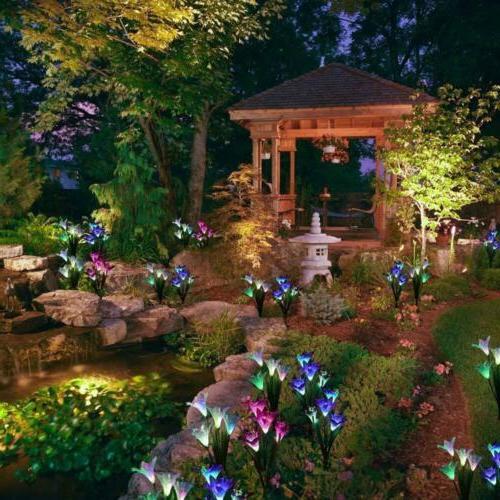 2 Pack Solar Power Lily Flower Garden Lamp Outdoor