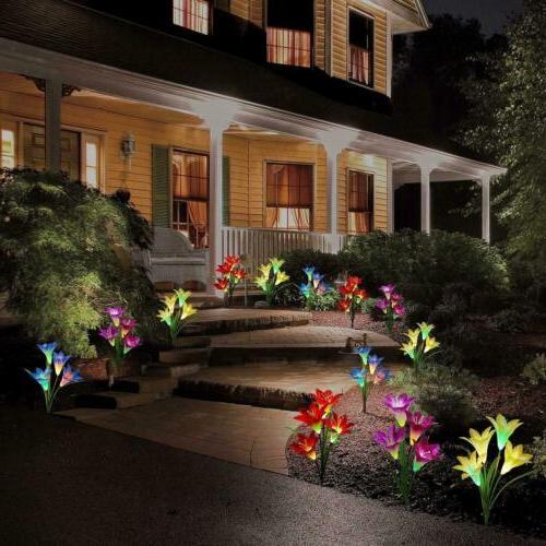 2 Pack Lily Flower LED Lights Garden Outdoor