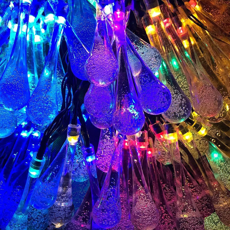 2 Lights, 20 Feet 30 LED Water Drop Solar