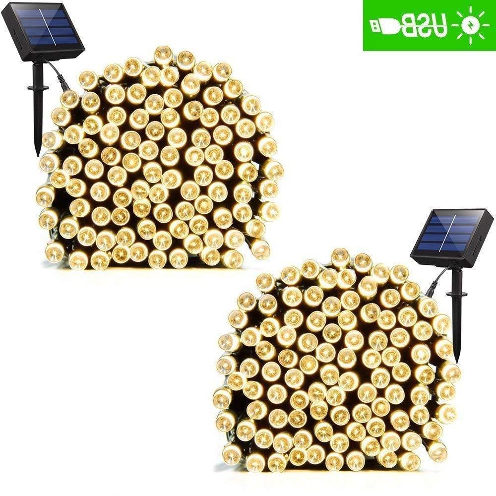 ADDLON 2 Pack Solar Xmas String Lights 72ft 22m 200 LED 8 Mo