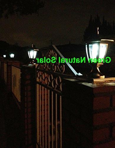 2-Pack WHITE Post WHITE LEDS 5X5 Fence Post- NATURAL SOLAR