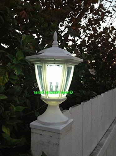2-Pack WHITE Hexagon Post Lights with WHITE Fence Post- SOLAR