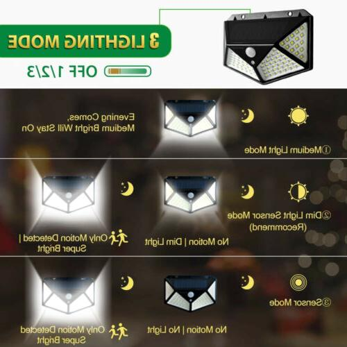 2 Pack100 LED Lights Outdoor Sensor Lamp