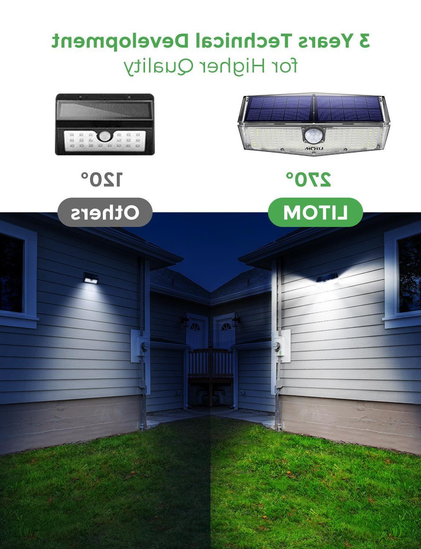 2 Packs <font><b>LITOM</b></font> <font><b>Solar</b></font> <font><b>Light</b></font> LEDs Motion Lamp IPX7 270° Garden <font><b>Lights</b></font>