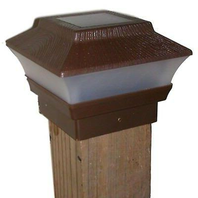8 Fence Cap Post Lights Brown Wood 4x4 WOOD Only!