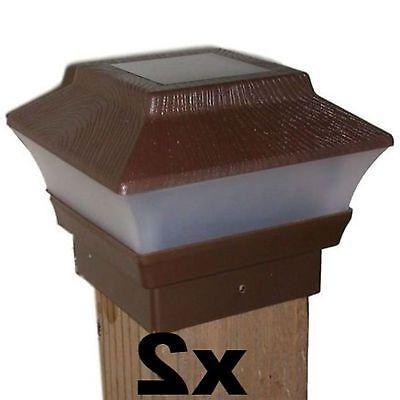 2 solar fence post cap lights brown