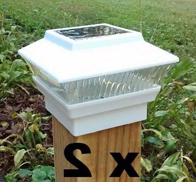 2 solar fence post cap lights white
