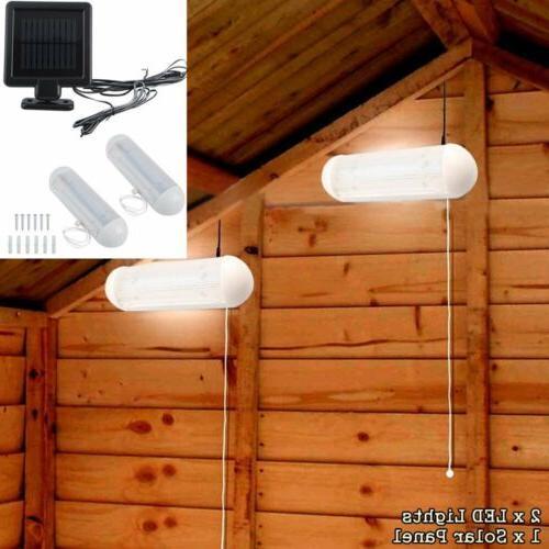 2 Solar Power LED Shed Lights Wall Indoor Corridor Garden Ya