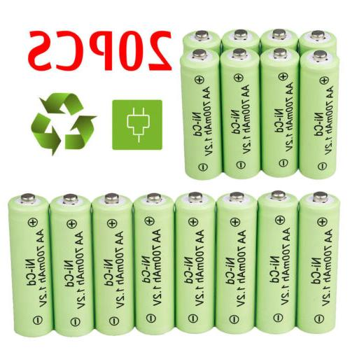 20 aa rechargeable batteries nicd 700mah 1