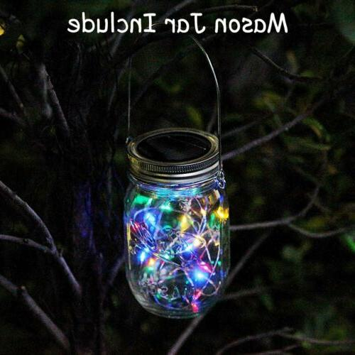 Solar Powered Mason Jar Lid Lights Set 20 LED Fairy String L