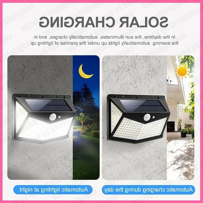 208 LED PIR Sensor Solar Light Lamp Waterproof
