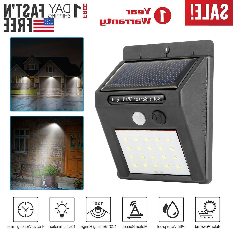 20LED Power Light PIR Sensor Security Outdoor Yard Wall Lamp