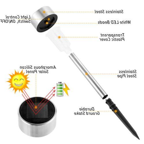 24PCS Outdoor Stainless Steel LED Solar Power Light Garden P