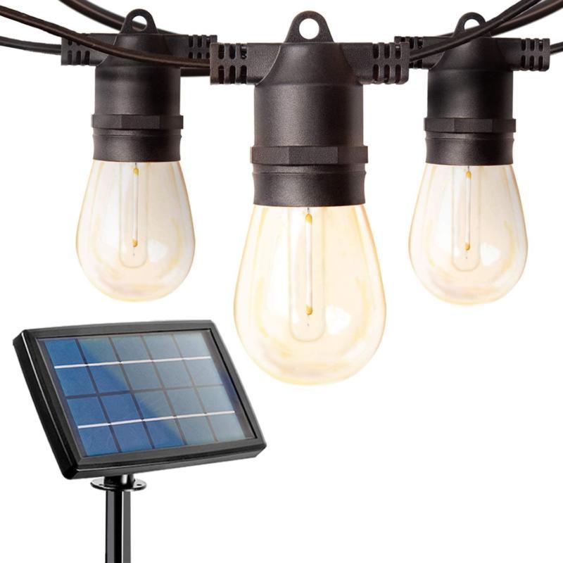 Addlon 27FT Solar String Lights Outdoor LED Solar Café Pati