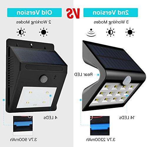 InnoGear 2nd 14 Solar Projection Outdoor Motion Sensor Auto on/Off Wall for Patio Yard Deck Fence, Pack of