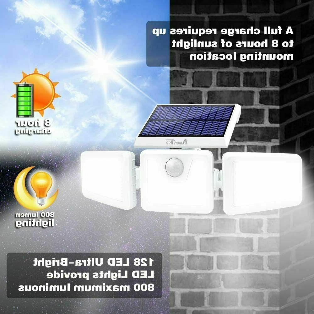 2Pcs Solar Outdoor,LED Waterproof 3 Adjustable Heads