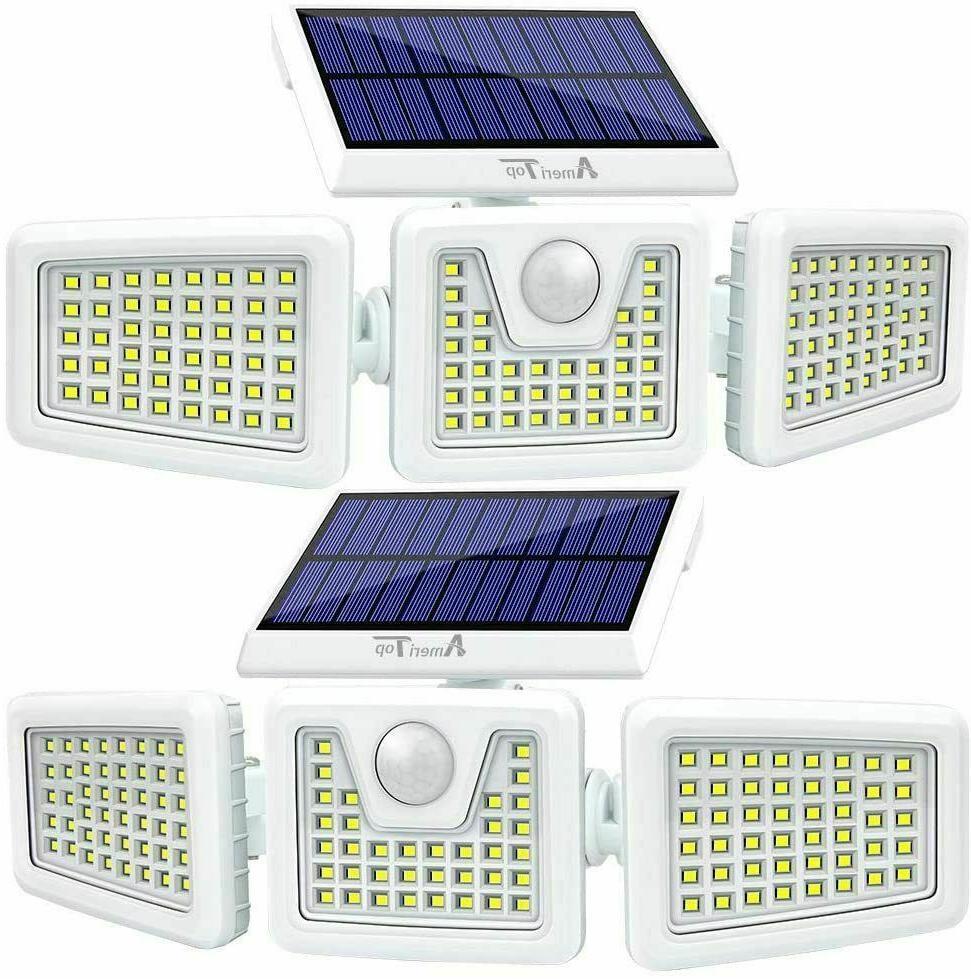 2pcs solar lights outdoor led waterproof motion