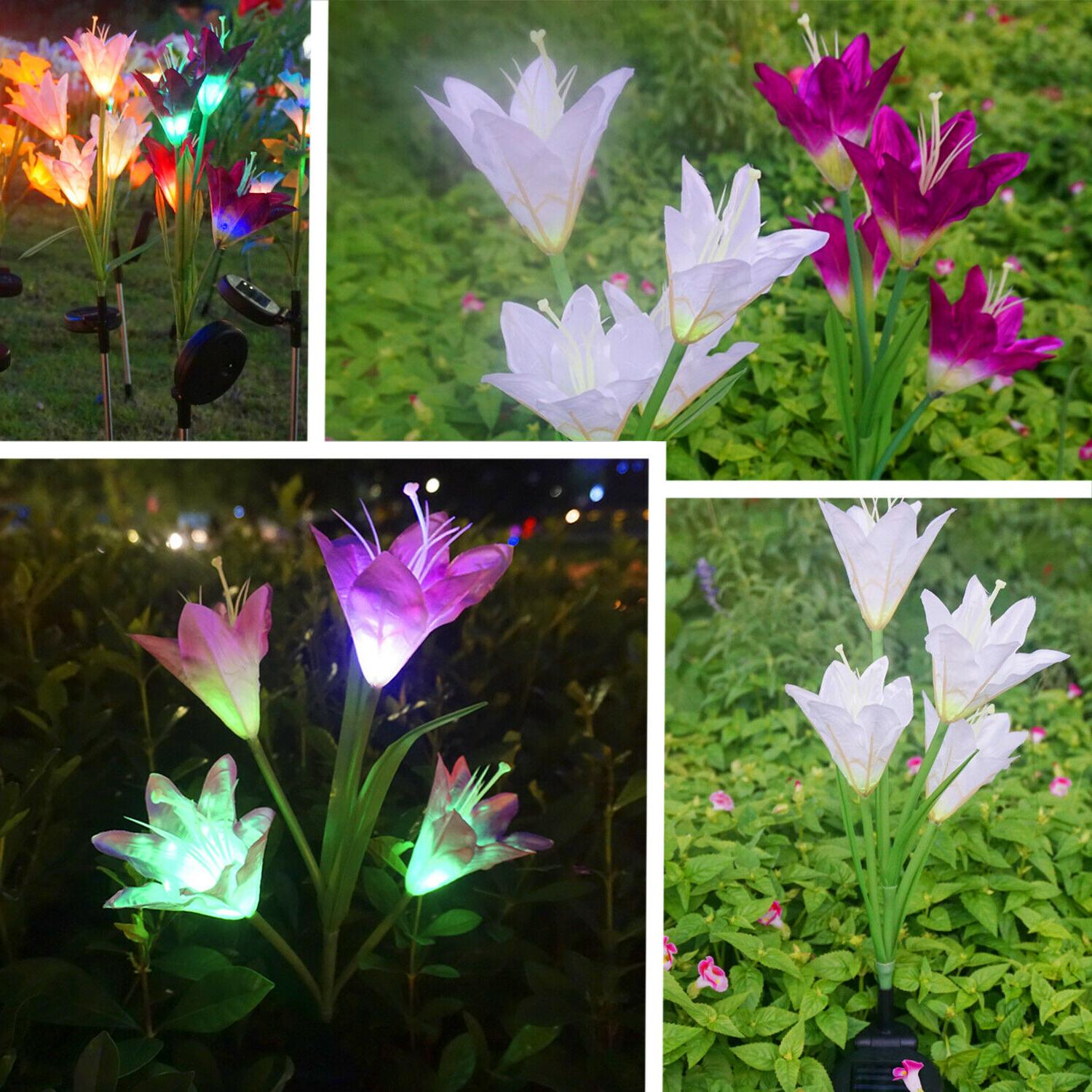 2 Power Lily Lights Garden Stake Outdoor Decor