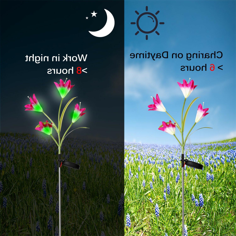 2 Solar Lily Flower Garden Lamp Outdoor Decor