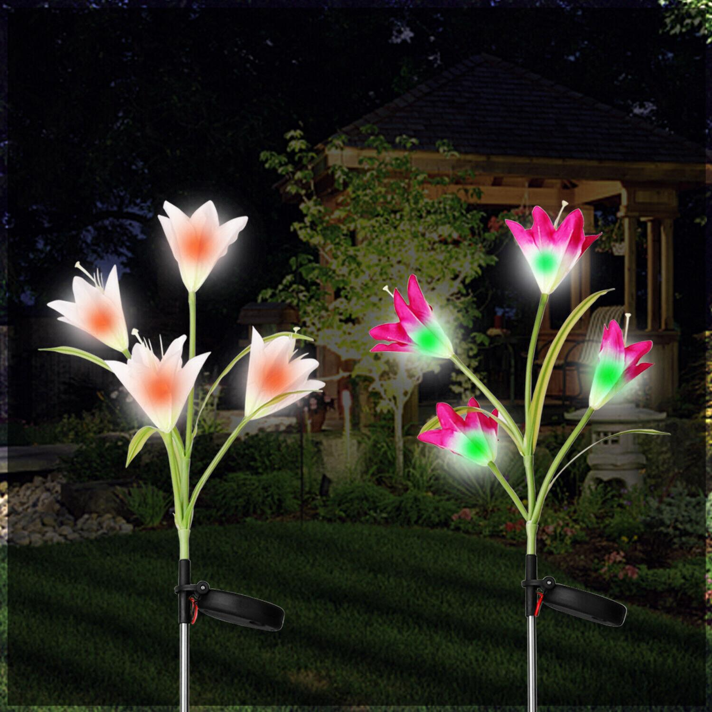 2 Solar Lily LED Garden Stake Lamp Yard
